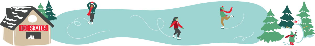 Row of an illustrated ice skating scene.