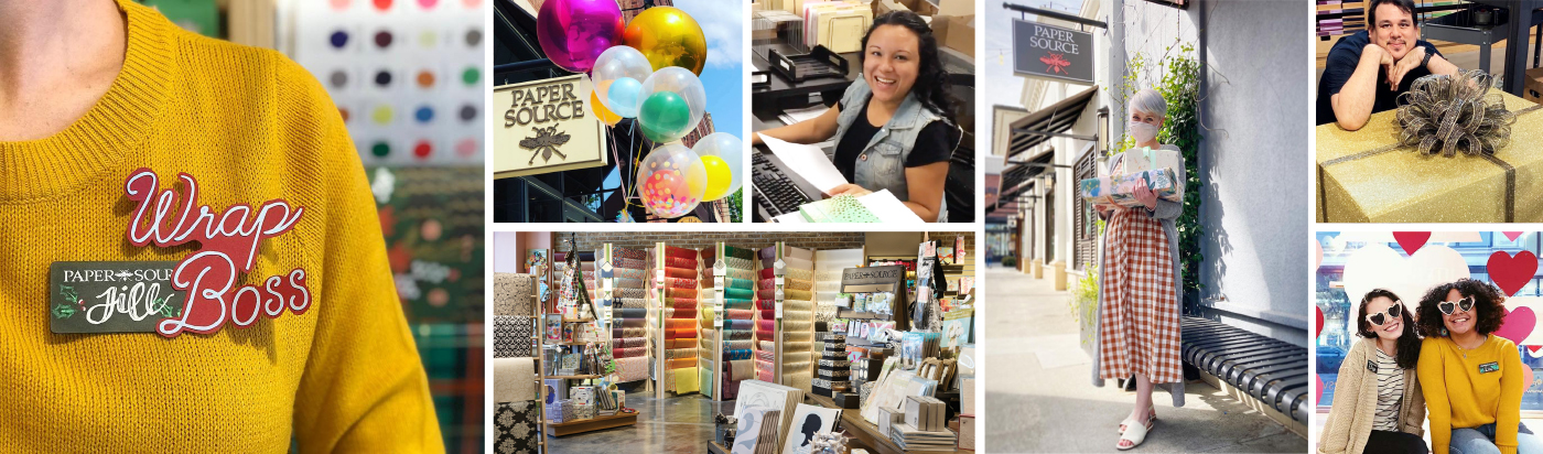 Photo collage of Paper Source employees.