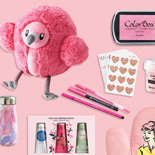an array of pink products
