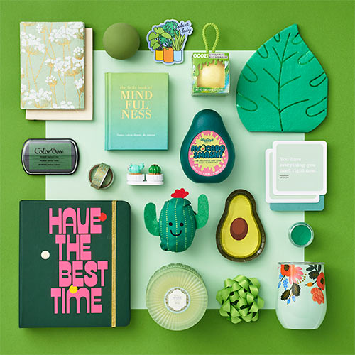 an array of green products