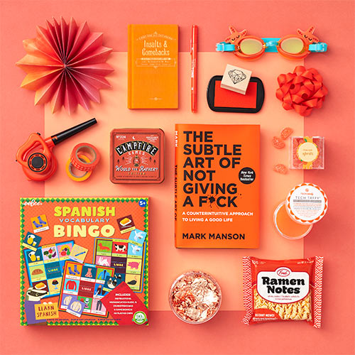 an array of orange products