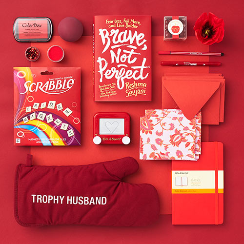 an array of red products