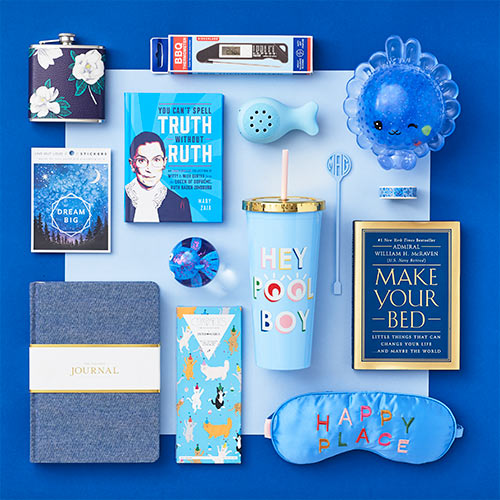 an array of blue products