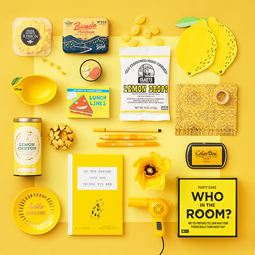 an array of yellow products