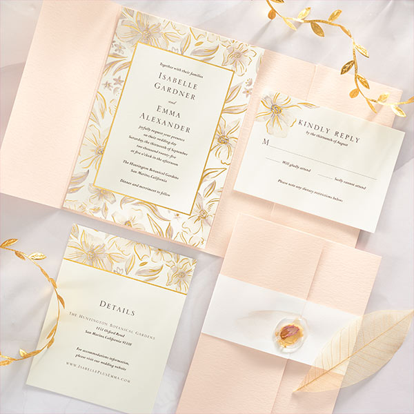 Brushed Blossoms Wedding Invitation Suite.