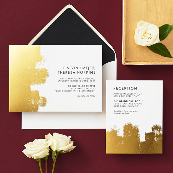 lavish paintbrush wedding invitation