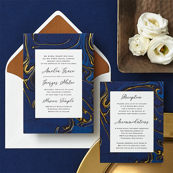 modern gilded marble wedding invitation