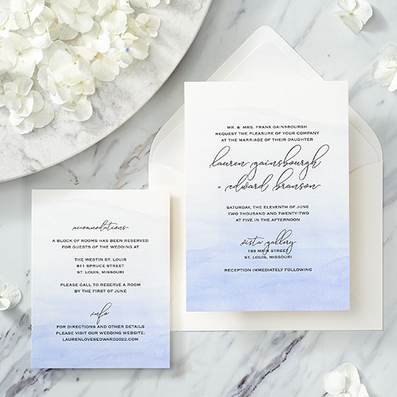 romantic watercolor wedding invitation