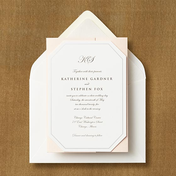 Diamond Cut Pearl Border Invitation