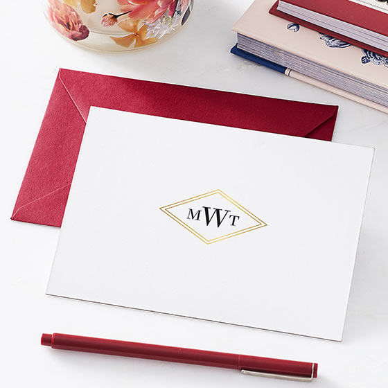 gold foil monogram stationery
