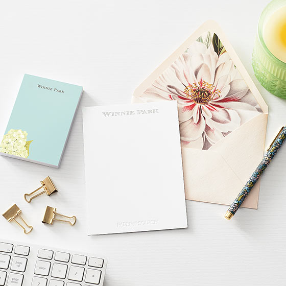 modern personalized notepad and stationery