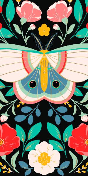 Floral Moth Medium Planner.