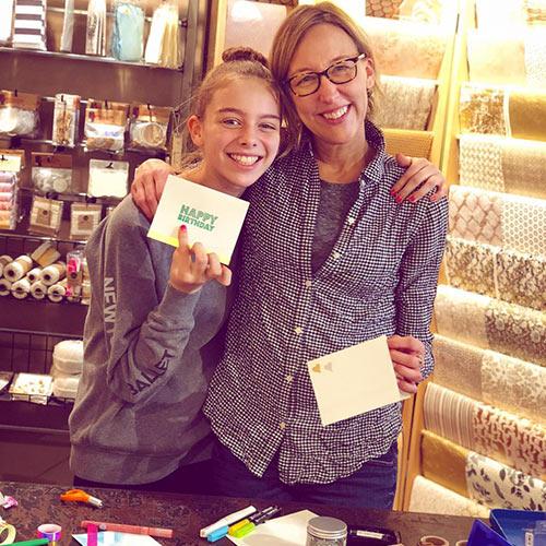 mom & daughter at Paper Source