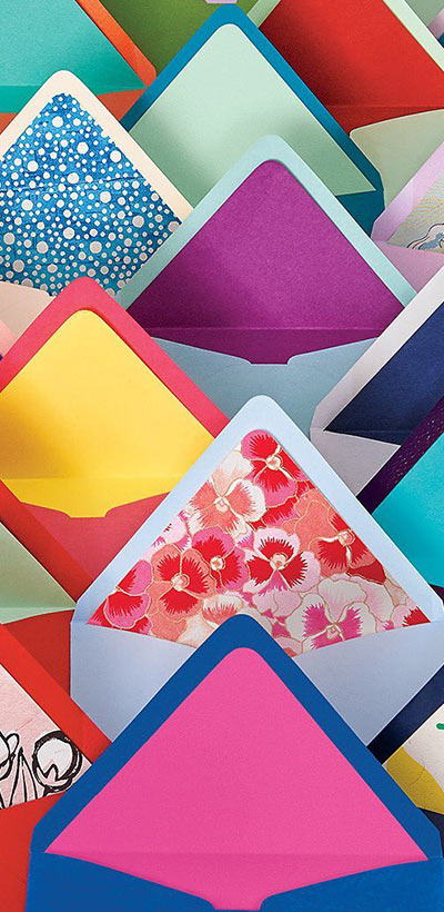 colorful envelopes with liners