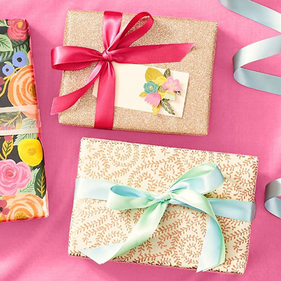 presents with gold wrapping paper