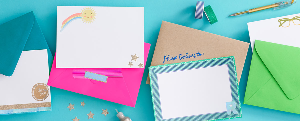 High quality envelopes and notecards in exclusive colors including neutrals, fuchsia, peacock, clover and paper bag