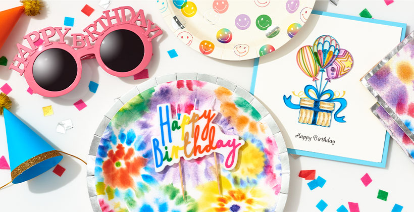 Colorful birthday party gifts and accessories.