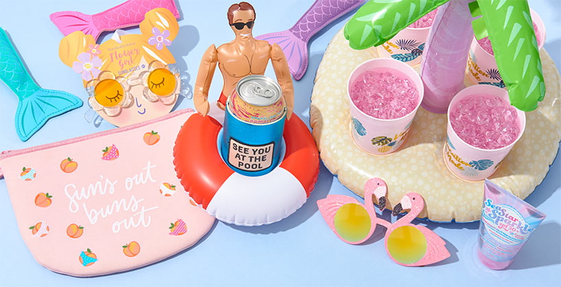 Assorted summer-themed gifts and products.