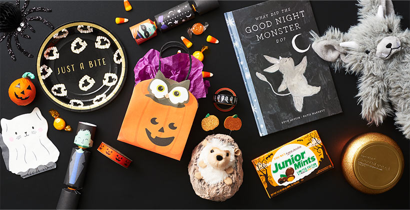 Assorted Halloween gifts, party accessories and treats.
