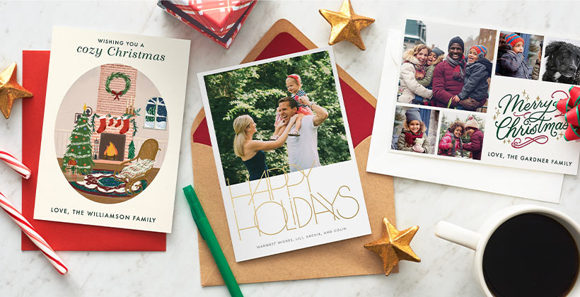 Assorted custom holiday cards by Paper Source.
