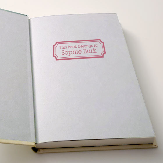 inside book cover with custom stamp