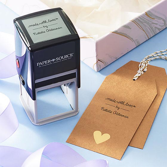Gift tag customized with self-inking stamp.