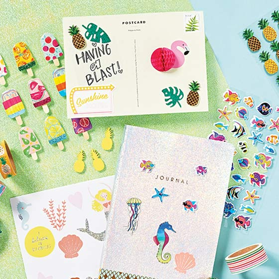 Fun Summer Stickers with Pineapples and Animals