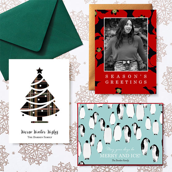 Personalized Christmas Cards with Penguins and Christmas Trees