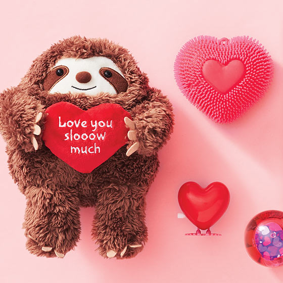 sloth love plush and heart toys