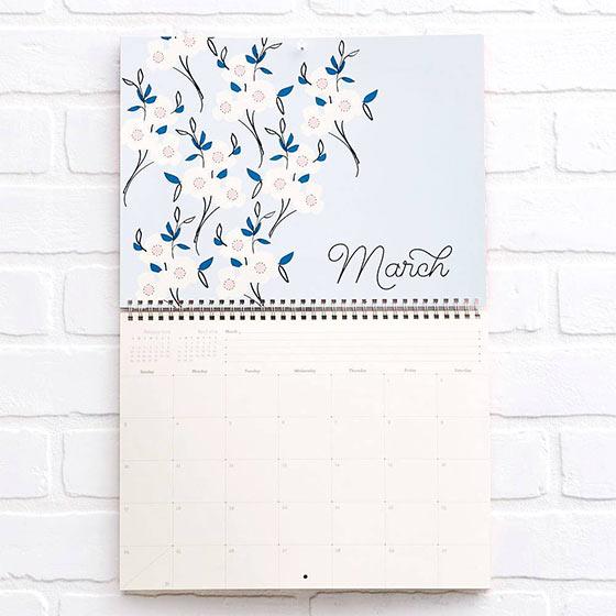 pretty floral wall calendar