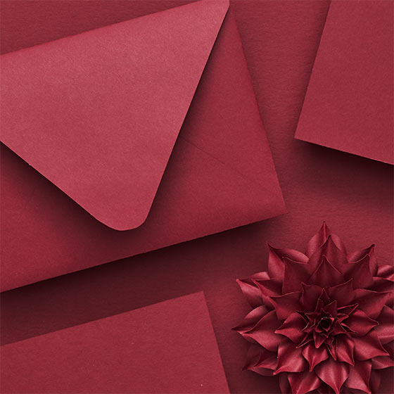 dahlia colored paper and envelopes