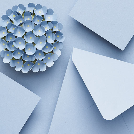 hydrangea colored paper and envelopes