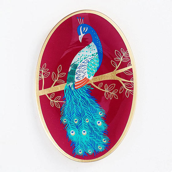peacock trinket dish