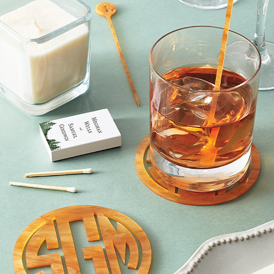 monogramed coasters and custom matches