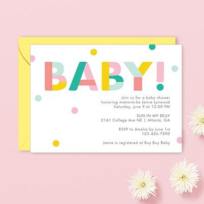 polk-a-dot baby invites