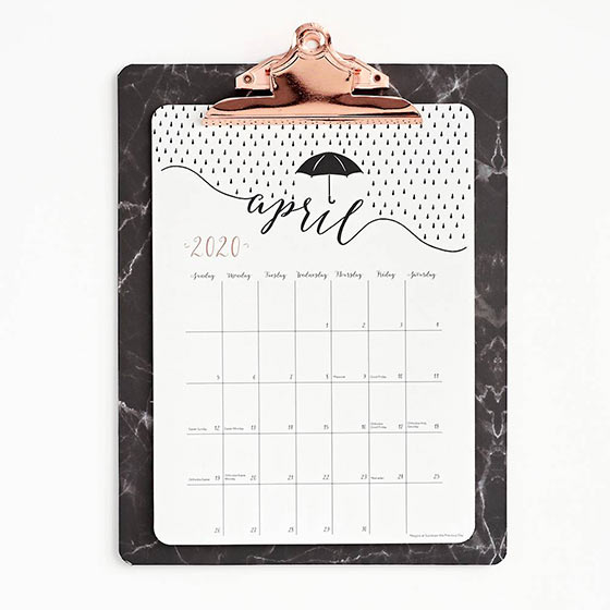 marble and rose gold accented clipboard calendar