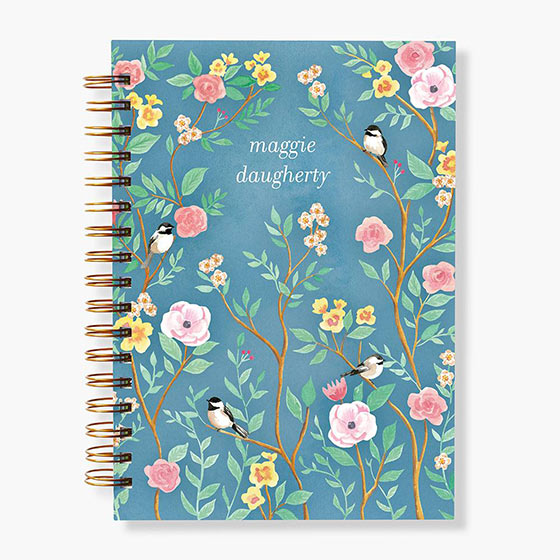 personalized planner with birds and flowers