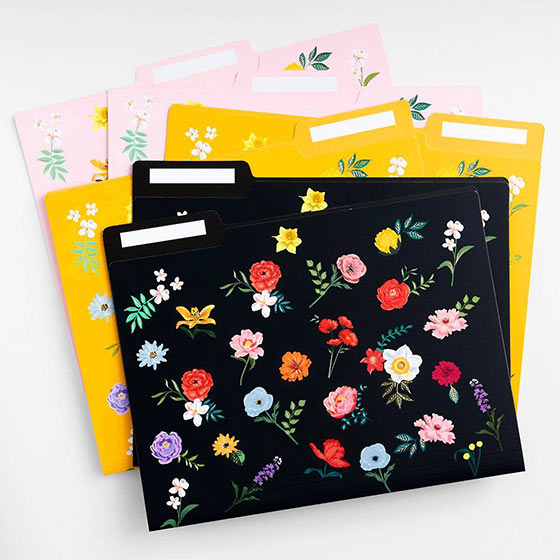 colorful floral folders