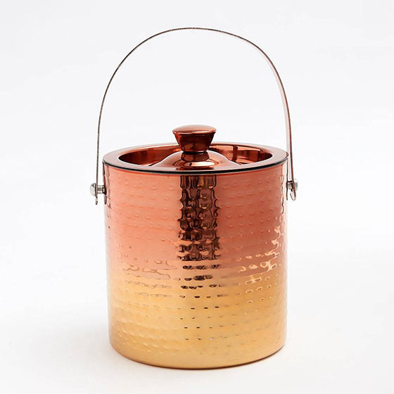 Shiny copper ice bucket