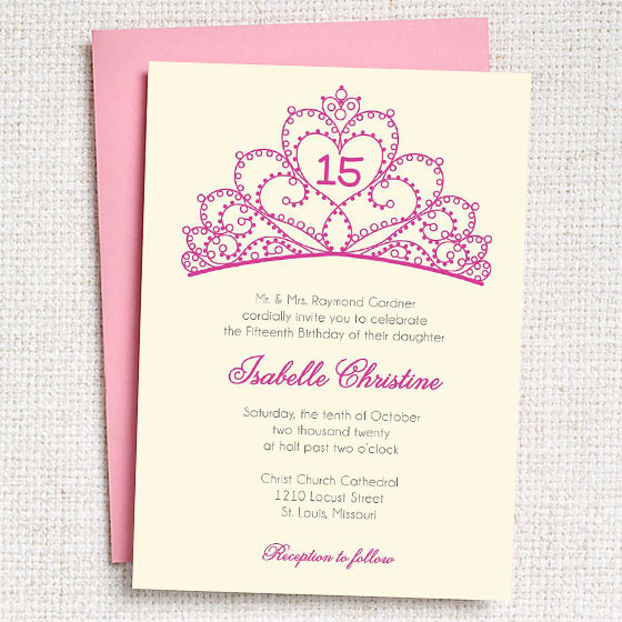 Quinceanera Crown Party Invite
