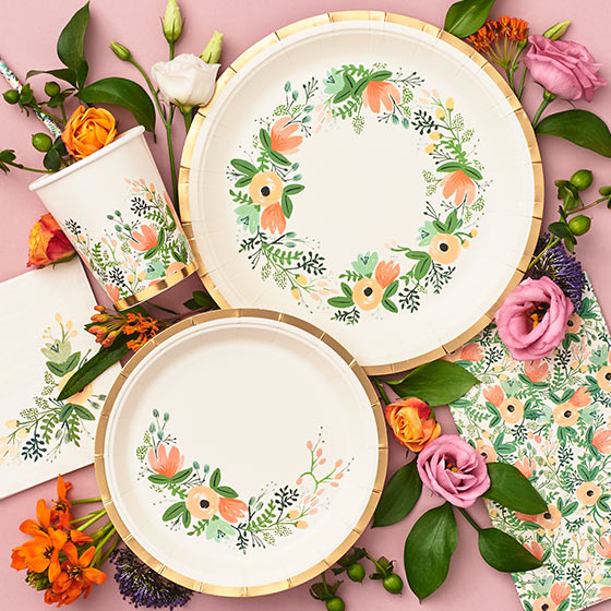 floral plates and cups