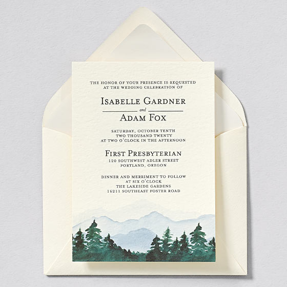 mountain and tree watercolor wedding invitation