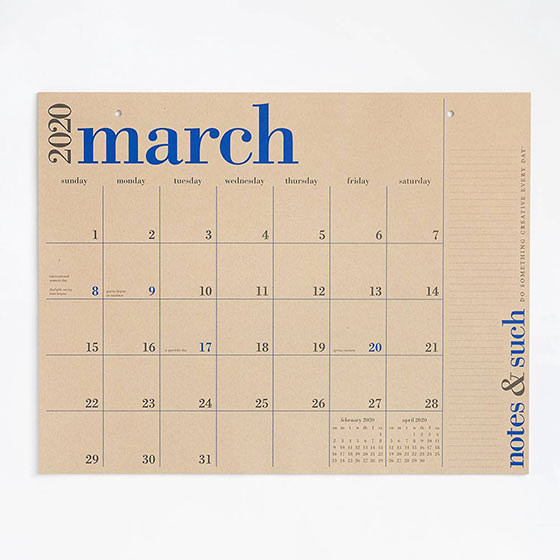 large modern desk calendar