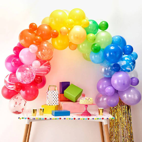 pretty rainbow balloon decor