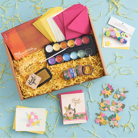 watercolor floral creativity box