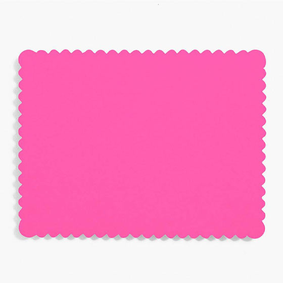 fuchsia scalloped flat paper