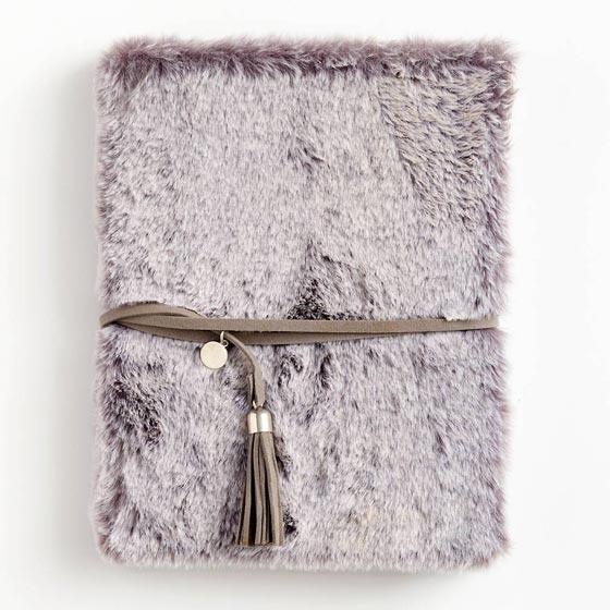 Gray Faux Fur Journal