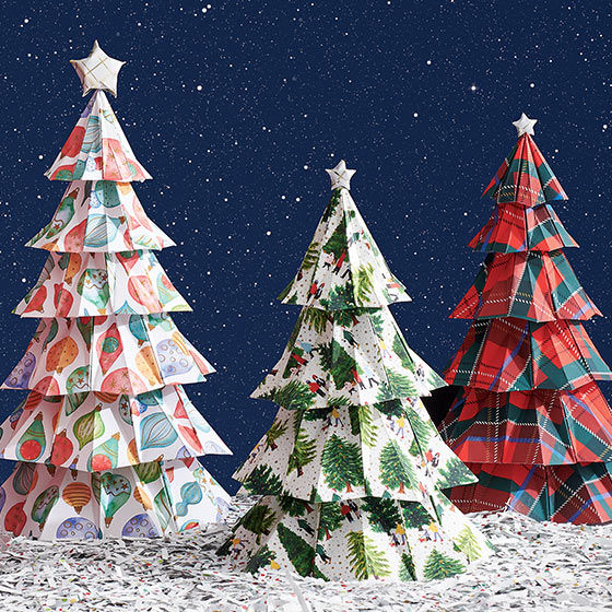 christmas trees made out of stone paper
