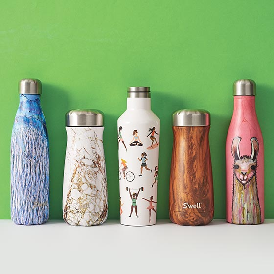 Assorted reusable water bottles with cute and colorful designs.