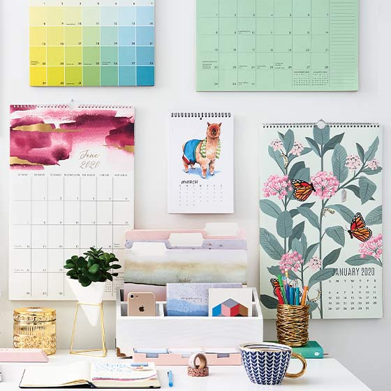 Lifestyle Image of Calendars at Desk